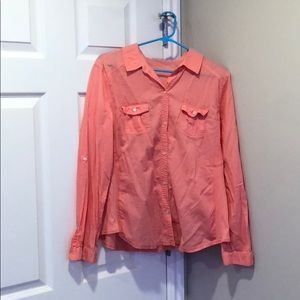 Button up salmon shirt